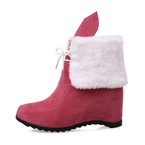 Amoonyfashion Womens Kitten Hakken Solide Ronde Gesloten Neus Frosted Veterlaarzen Rood