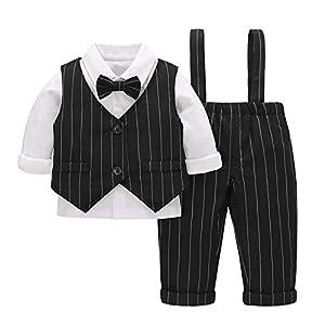 Baby Boy Suit Set 3 Pcs Shirt + Gilet + Pant, Gentleman Outfits with Bowtie Long Sleeve Cotton Formal Costume Newborn…