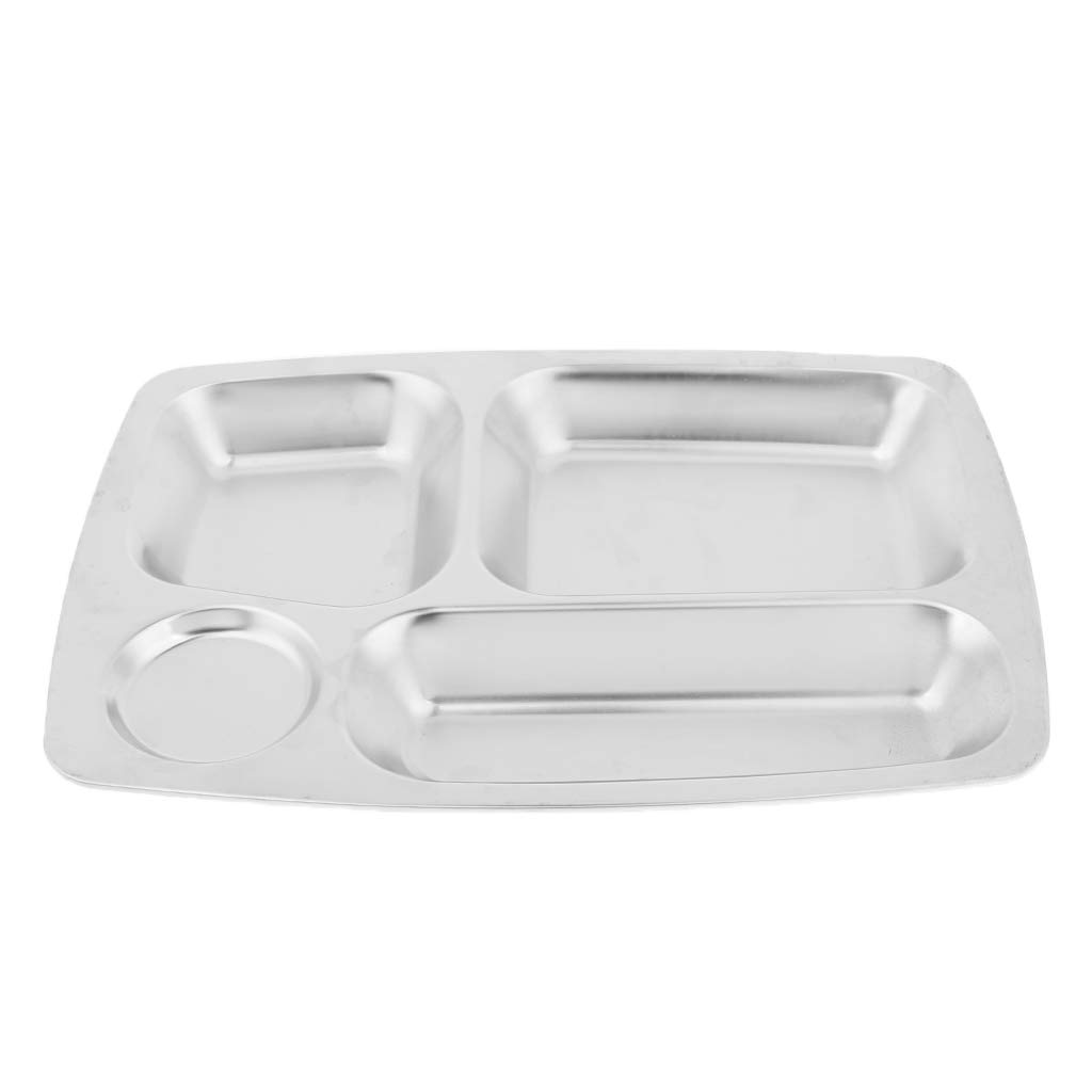 6 Compartment Stainless Steel Sectional Food Serving Tray Stainless Steel