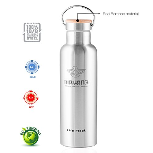 Nirvana Life Flask - 750 ml (26 Oz), Cold 24 Hrs, Hot 12 Hrs, 100% Leak & Sweat Proof, Double Walled Vacuum Insulated Stainless Steel Thermos Flask, Extra BPA free flex Cap