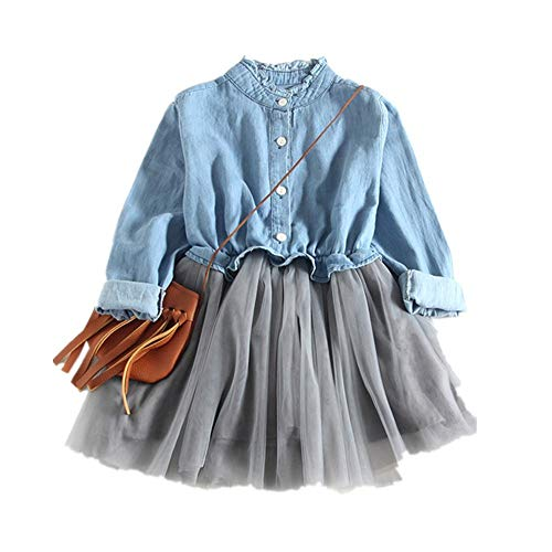 (Theshy Toddler Baby Girls Denim Dress Long Sleeve Princess Tutu Dress Cowboy)