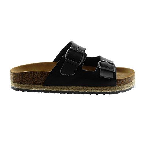 Sandale Compensé Angkorly 5 on Noir Plateforme Liège Chaussure Mule Cm Talon 3 Boucle Corde Slip Mode Femme rqwtrTP6