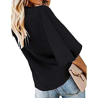 luvamia Women's V Neck Tops Ruffle 3/4 Sleeve Tie Knot Blouses Button Down Shirts at Women's Clothing store