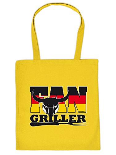 Fan Griller: Borsa Con Manico In Tote Bag Con Stampa. Portare Borsa, Must-have, Borsa Di Stoffa, Palla, Sport, Ventilatore