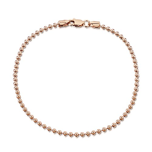 14K Rose Gold Plated on 925 Sterling Silver 2 mm Ball Chain Bracelet Length 7