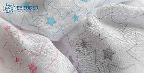 2 Muselinas Estrellas Rosa-Gris Algod/ón 100/% 120x120 Multifunci/ón.Fabricadas en Espa/ña. Escuder
