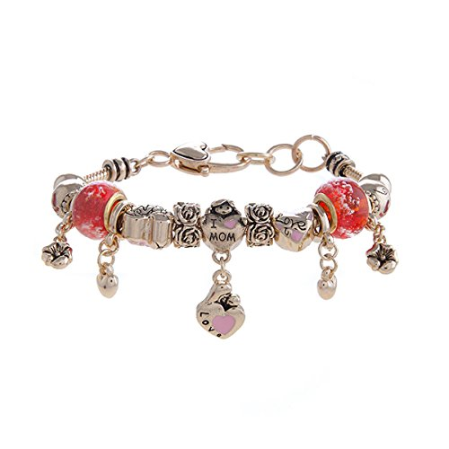 Top Shop World Silvertone New Mom and Baby Theme Beaded Charm Bracelet (Red Gold) (Bracelets Baby Beaded Gold)