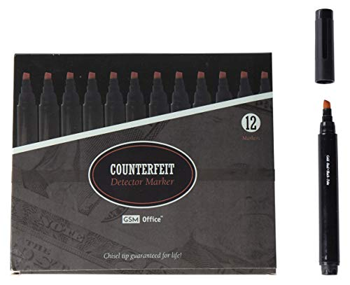 Counterfeit Money Bill Detector Pens, Markers – Detects Fake Currency – 12 Pack