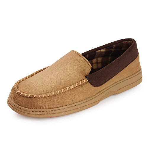 Fantiny Men's Casual Memory Foam Pile Lined Slip on Moccasin Flats Slippers Micro Suede Indoor Outdoor Rubber Sole-U1MTM011-Camel-44 (Bag Slipper)