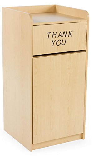 Displays2go 36 Gallon Restaurant Trash Can with Hinged Door, Tray Holder with Thank You Message (LCKDPZTRMP) (Thank You Garbage Can)