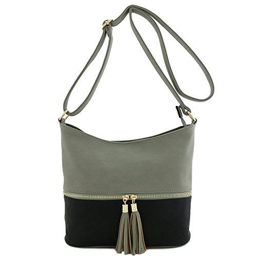 Black Grey Bag Tassel Bucket Zipper Crossbody xTO1SUq