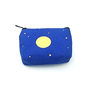 Cute Blue Canvas Coin Purse Zipper Wallet Coin Bag Sanitary Napkin Bag