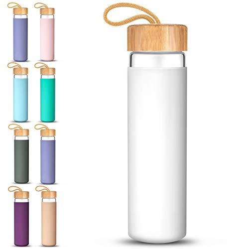 glass water bottle wood lid - 9