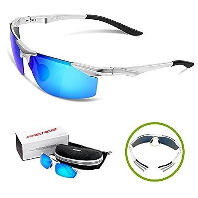 Paerde Men's Sports Style Polarized Sunglasses for Men Fishing Driving Golf Unbreakable Al-Mg Metal Frame Glasses