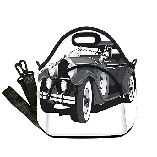 Black Joke Engine - Insulated Lunch Bag,Neoprene Lunch Tote Bags,Cars,Old Timer American Black Car Classical Urban Travel Nostalgic Revival Engine,Black Grey White,for Adults and children