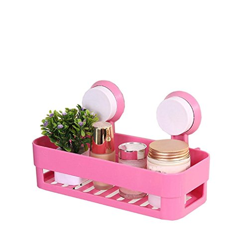 Gotd Strong Suction Shower Caddy Bathroom Shelf Storage Organization with Rack Basket Sucker Cup for Shampoo, Conditioner, Soap (Pink)