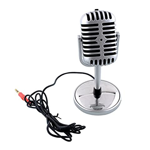 UEETEK Mini Silver Classical Retro Microphone Mic Stand 3.5mm Stereo Recording Singing Karaoke for PC Computer Laptop (Notebook Mini Lapto)