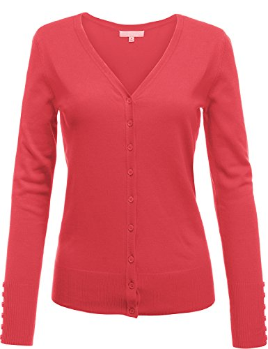 Luna Flower Women's Basic Slim Fit Button Down Classic V-Neck Longsleeve Cardigans Coral - Square Coral Macys