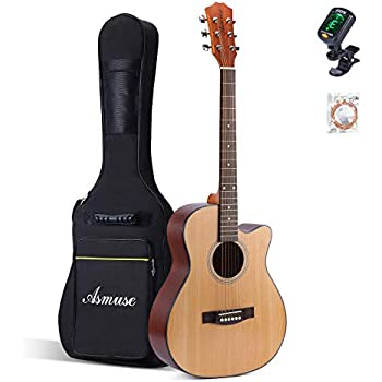 asmuse acoustic guitar right hand cutaway 40 inch with bag guitar tuner and 6 steel. Black Bedroom Furniture Sets. Home Design Ideas