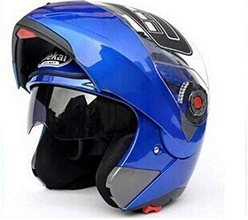 (Motorcycle Helmets Flip Up Double Visors Helmet Racing Full Face Moto Sizem-2XL Motorcycle Helmets Blue XL)