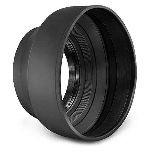 67MM Collapsible Rubber Lens Hood for Camera Lens with 67MM Filter Thread + Premium MagicFiber Microfiber Cleaning Cloth