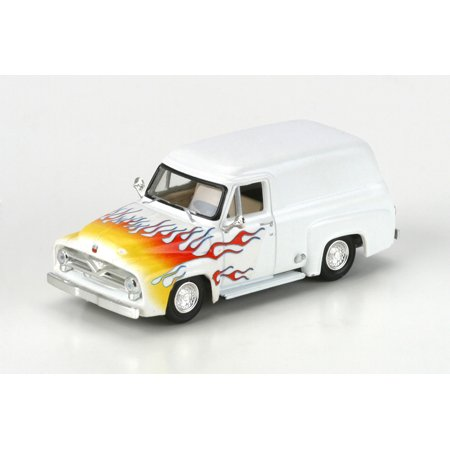 HO RTR 1955 Ford F-100 Panel Truck, White/Flames (1955 Ford Panel Truck)