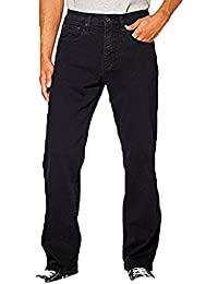 Mens Relaxed Fit Straight Leg Jeans (38 x 34, Black)