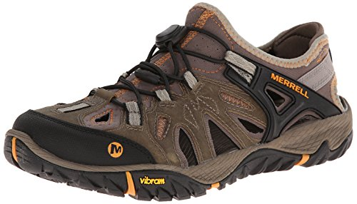 Merrell Men's All Out Blaze Sieve Water Friendly Outdoor Sandal, Brindle/Butterscotch, 9 M US by Merrell