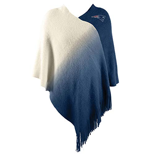 Littlearth NFL New England Patriots Womens Nflnfl Dip Dye Poncho, Navy, One Size Fits Most