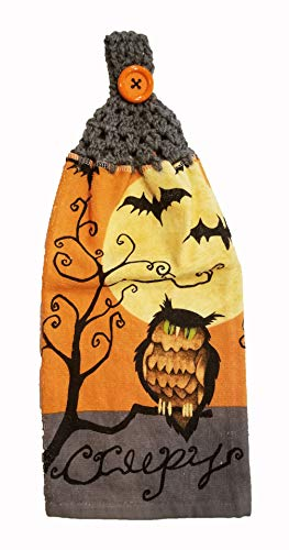 Handcrafted Grey Crochet Topped Halloween Owl Kitchen Towel ()
