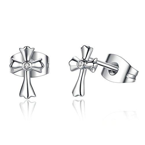 The Kiss Faith Cross 925 Sterling Silver Stud Earrings