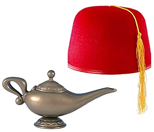 Genie Lamp and Fez Hat Costume Accessories Gold