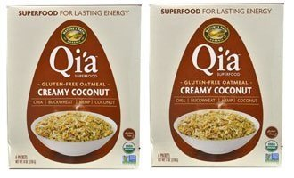(Qi'a Superfood Organic Hot Oatmeal - Creamy Coconut - 2 Boxes with 6 Packets Each Box (12 Packets Total) (8 oz each))