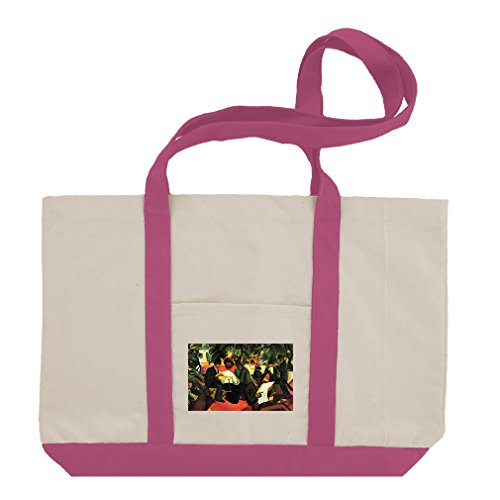 Garden Restaurant (Macke) Cotton Canvas Boat Tote Bag Tote - Hot Pink (Macke Garden)