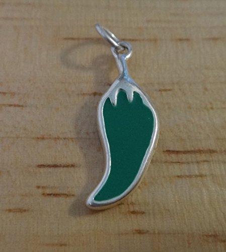 - Pendant Jewelry Making Sterling Silver 22x7mm Green Chili Enamel Jalapeno Pepper Charm