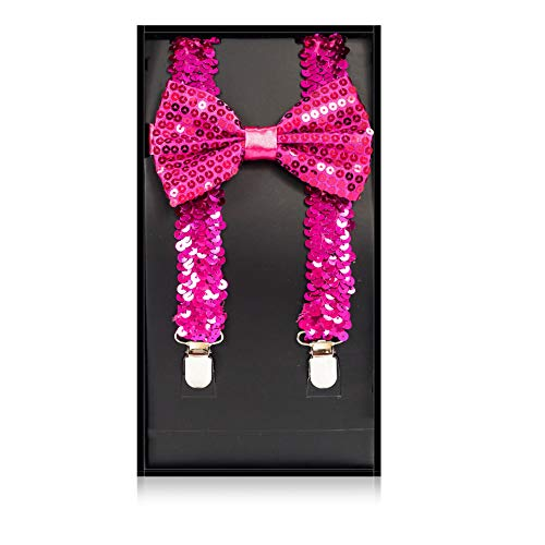 Buha Suspenders for Men, 2 in 1 Suspenders and Bow Tie, Mens Outfits Casual Suspender and Bow Tie Special Edition (Sequins-Hot Pink)
