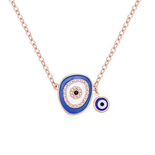 TUSHUO Round Cookie Monster Necklace Enamel Evil Eyes Pendant Necklace Evil Eyes Jewelry for Women (Rose Gold) Enamel Evil Eye