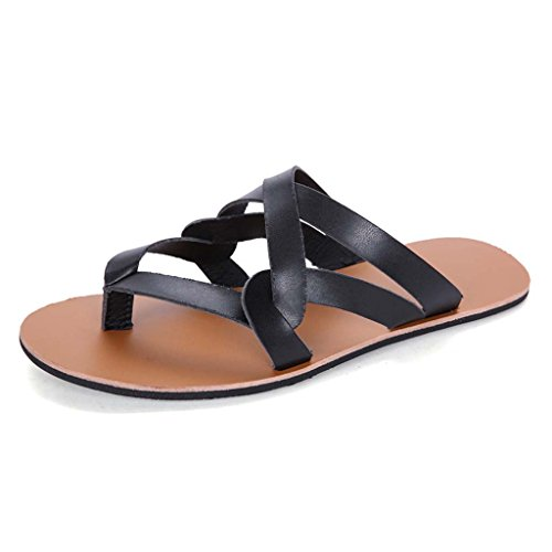 ZXCV Zapatos al aire libre Las sandalias de los hombres forman los zapatos ocasionales sandalias planas respirables Negro