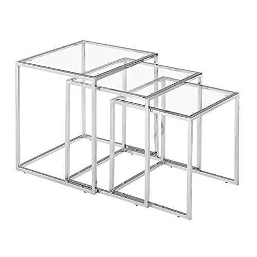 Cheap Zuo Pasos Nesting Table Clear Glass, Chrome