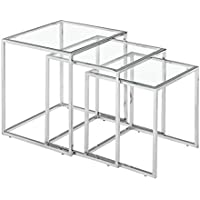 Zuo Modern Pasos Nesting Table Clear Glass, Chrome