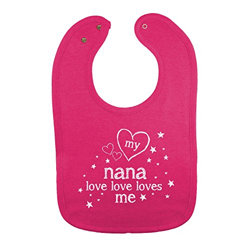 Vintage Baby Bib (Mashed Clothing Unisex-Baby My Nana Love Love Loves Me Cotton Baby Bib (Vintage Hot Pink))