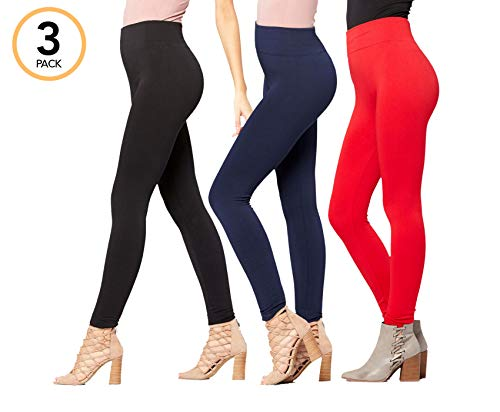 03654a589ac97 Galleon - Conceited Fleece Lined Leggings For Women - LFL 3 Pack Black Navy  Blue Red - Large X-Large