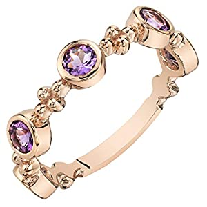 Peora Sterling Silver Stackable Ring in Natural Gemstones, 1.90mm Tiara Band for Women, Size 5 to 9