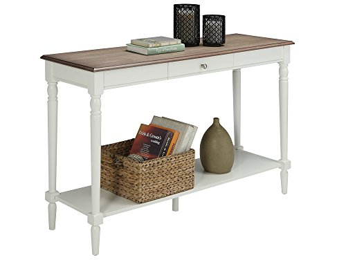 Convenience Concepts French Country Console Table with Drawer and Shelf, Driftwood White
