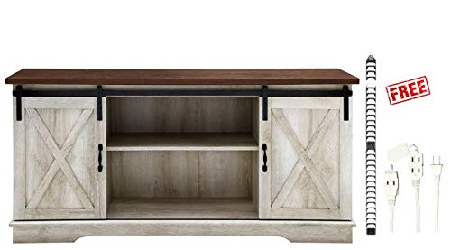 Home Accent Furnishings New 58 Inch Sliding Barn Door Television Stand in Traditional Brown/White Oak with Free Finish with Free!