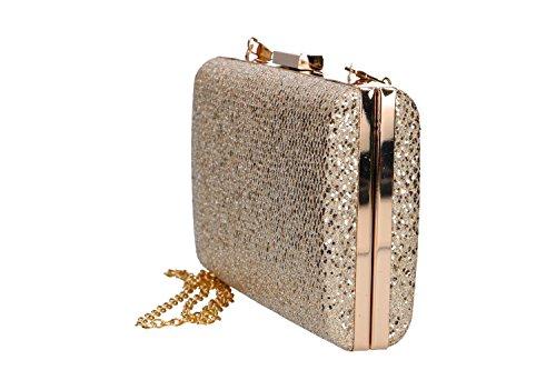 Bolsa mujer MICHELLE MOON pochette oro de ceremonia apertura metálica