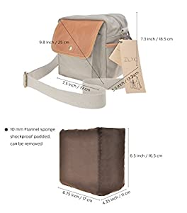 Canvas Camera Bag ZLYC Small DSLR Case Leather Trim Pouch Padded Insert Purse Vintage Shoulder Messenger Satchel For Women Men, Gray from ZLYC
