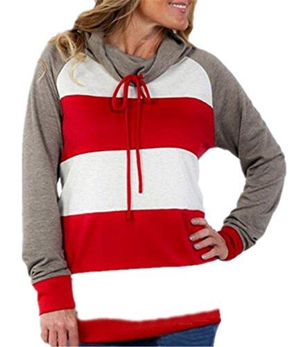 Con Pullover Red Gogofuture Elegante Lunghe Strisce Casuali A Hoodies Moda Cappuccio Sportiva Maniche Colori Felpa Hoody Donna Autunno Invernale Misti Elegante Sweatshirt Ba1F5aSqn