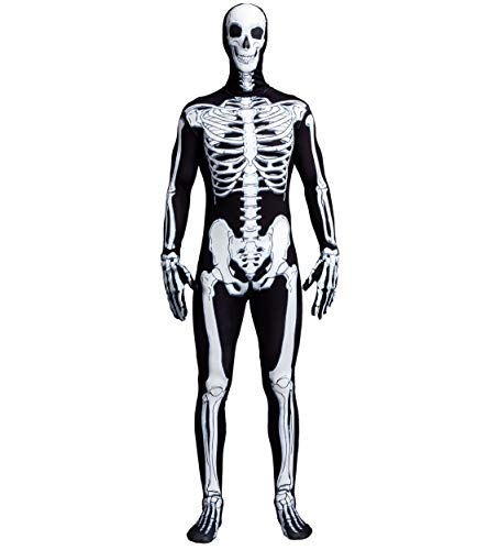 Ideas For Halloween Costume Contest (Spooktacular Creations Skeleton Bone Bodysuit Halloween Costumes 2nd Skin for Men with Skeleton Hood Mask(X-Large))
