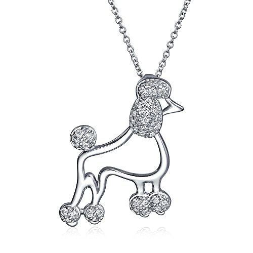 BFF Cubic Zirconia CZ Proud Puppy Pet Dog Poodle Pendant Necklace For Women For Teen 925 Sterling Silver